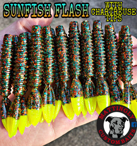 "Sunfish Flash W/ Chartreuse Tips 3.25"" Runts"