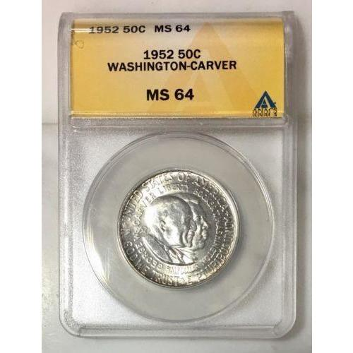 1952 Washington-Carver Half Dollar Anacs Ms64 *rev Tyes* #826230 Coin