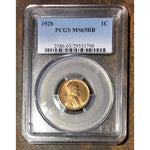 1928 Lincoln Cent Pcgs Ms65Rb *rev Tyes* #179073 Coin