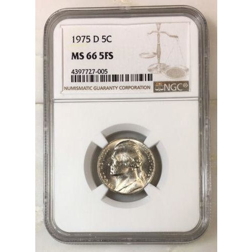 1975 D Jefferson Nickel Ngc Ms66 5Fs *rev Tyes* #7005 Coin