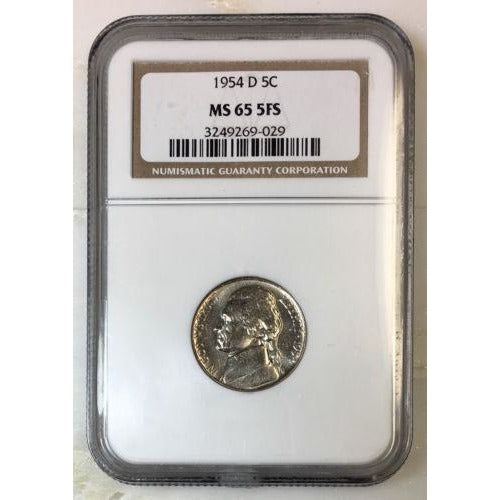 1954 D Jefferson Nickel Ngc Ms65 5Fs *rev Tyes* #9029485 Coin
