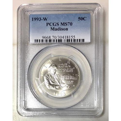 1993-W Madison Half Dollar Pcgs Ms70 #815545 Coin