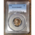 1916 Lincoln Cent Pcgs Ms64Bn *rev Tyes* #572162 Coin