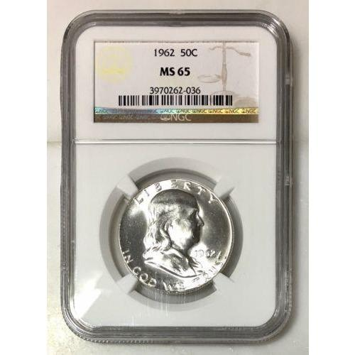 1962 Franklin Half Dollar Ngc Ms65 *rev Tyes* #203650 Coin