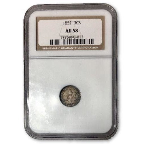 1852 Three Cent Silver Ngc Au58 *rev Tyes* #8012140 Coin