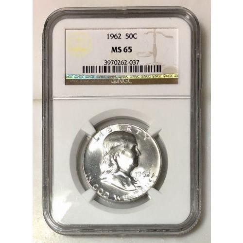 1962 Franklin Half Dollar Ngc Ms65 *rev Tyes* #203750 Coin