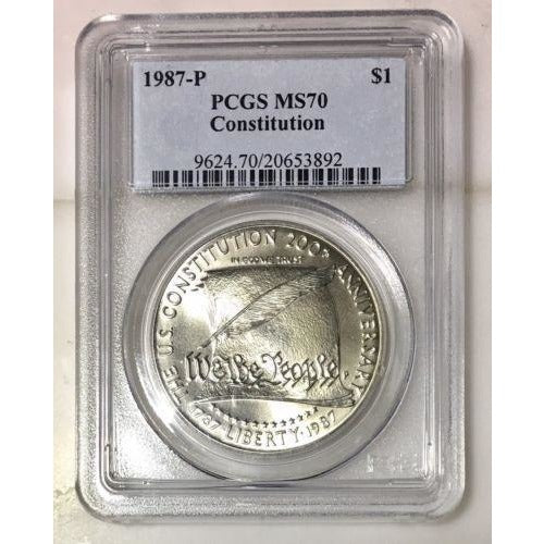 1987 P Constitution Dollar Pcgs Ms70 *rev Tyes* #389262 Coin