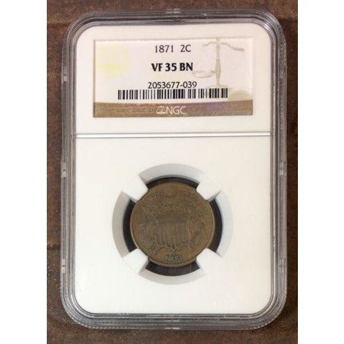 1871 Two Cent Piece Ngc Vf35 Bn #703994 Coin