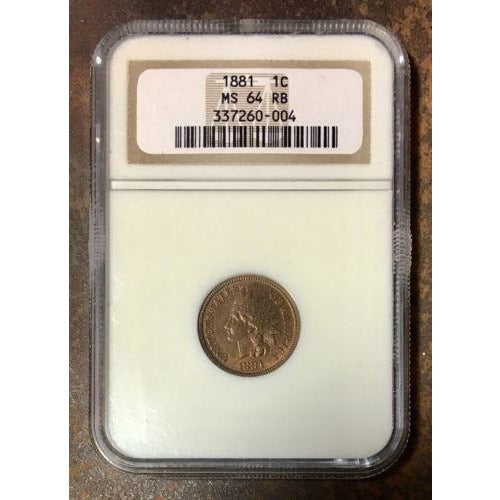 1881 Indian Head Cent Ngc Ms64 Rb *rev Tyes* #0004233 Coin