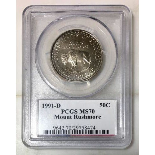 1991 D Mount Rushmore Commemorative Pcgs Ms70 *rev Tyes* #8474200 Coin