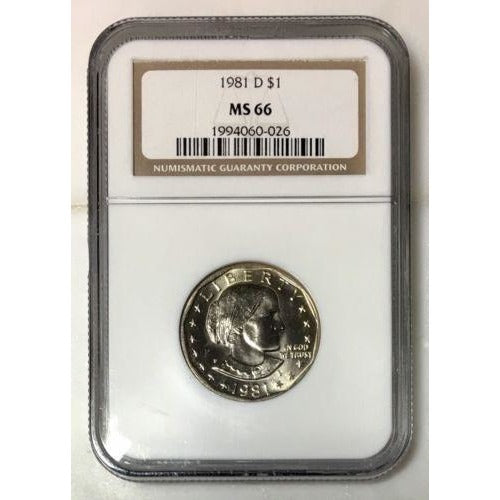 1981 D Susan B Anthony Dollar Ngc Ms66 #002615 Coin