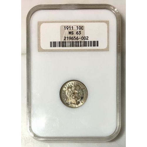 1911 Barber Dime Ngc Ms63 #6002153 Coin