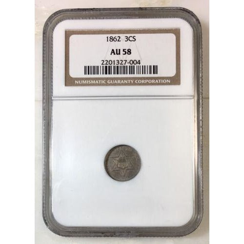 1862 Three Cent Silver Ngc Au58 *rev Tyes* #7004189 Coin