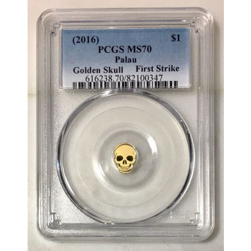 2016 Palau $1 Golden Skull Pcgs Ms70 *rev Tyes* #034790 Coin