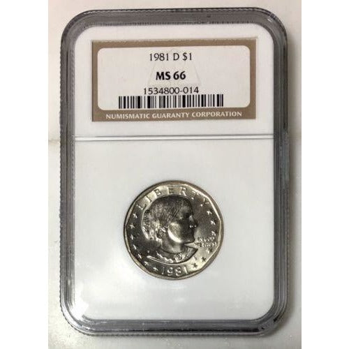 1981 D Susan B Anthony Dollar Ngc Ms66 #001415 Coin