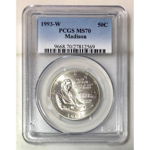 1993 W Madison Half Dollar Pcgs Ms70 #256960 Coin