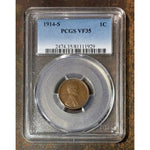 1914 S Lincoln Cent Pcgs Vf35 *rev Tyes* #192946 Coin
