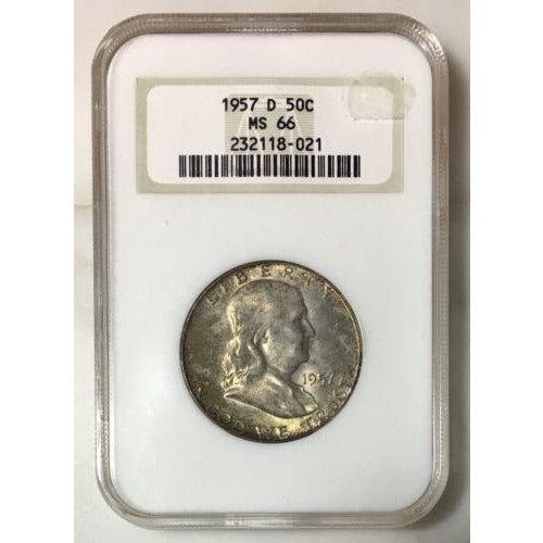 1957 D Franklin Half Ngc Ms66 *rev Tyes* #802169 Coin