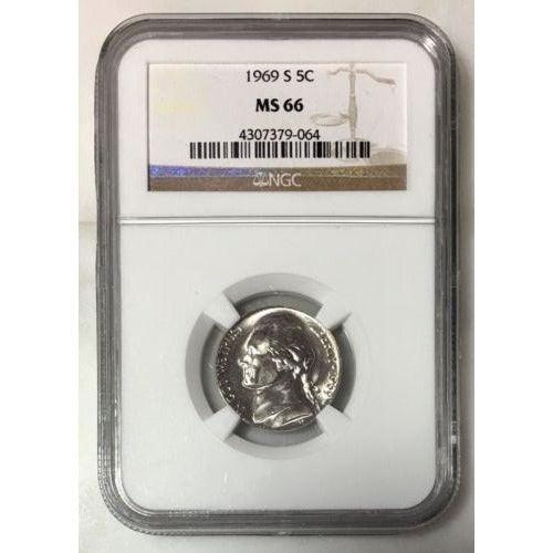 1969 S Jefferson Nickel Ngc Ms66 *rev Tyes* #9064100 Coin
