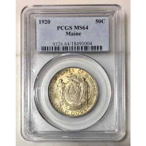 1920 Maine Half Dollar Pcgs Ms64 *rev Tyes* #1004159 Coin