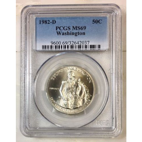 1982 D Washington Half Dollar Pcgs Ms69 *rev Tyes* #203769 Coin