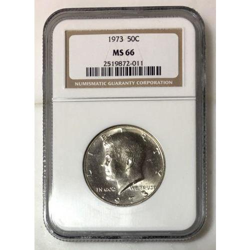 1973 Kennedy Half Dollar Ngc Ms66 *rev Tyes* #201175 Coin
