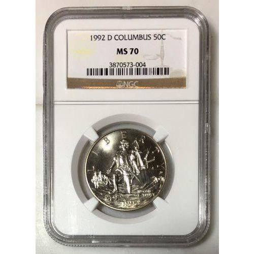 1992 D Columbus Half Dollar Ngc Ms70 #300472 Coin