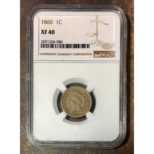 1860 Indian Head Cent Ngc Xf40 *rev Tyes* #608656 Coin