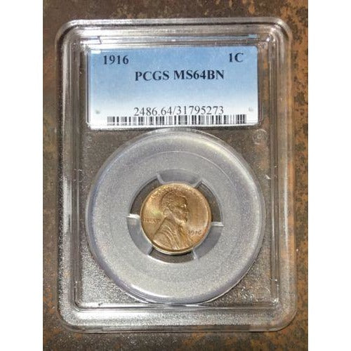 1916 Lincoln Cent Pcgs Ms64 Bn *rev Tyes* #527365 Coin