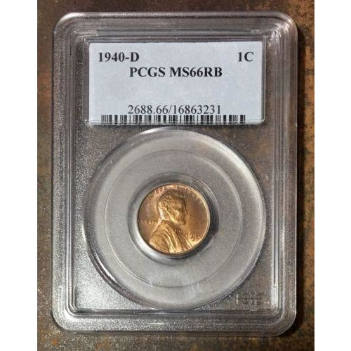 1940 D Lincoln Cent Pcgs Ms66Rb *rev Tyes* #3231 Coin