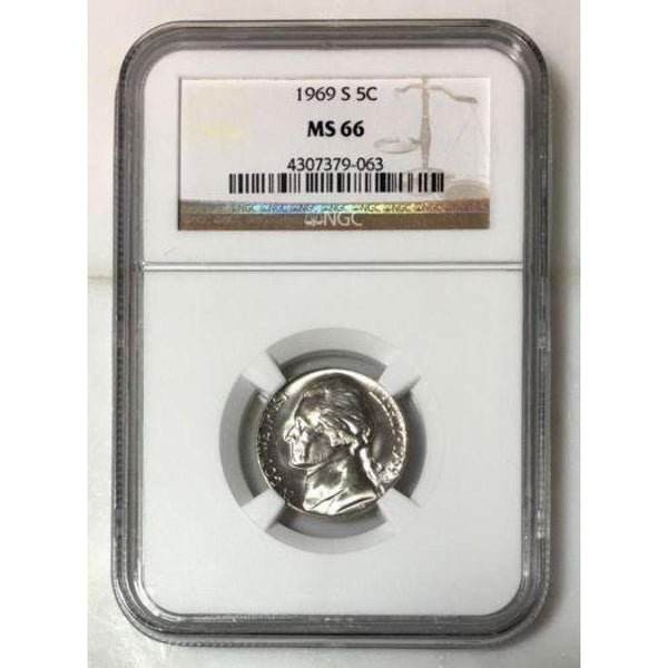 1969 S Jefferson Nickel Ngc Ms66 *rev Tyes* #9063100 Coin