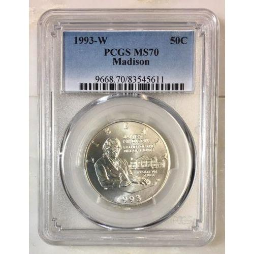 1993 W Madison Half Dollar Pcgs Ms70 #561155 Coin