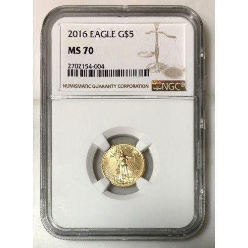 2016 Gold Eagle $5 Ngc Ms70 *rev Tyes* #4004 Coin