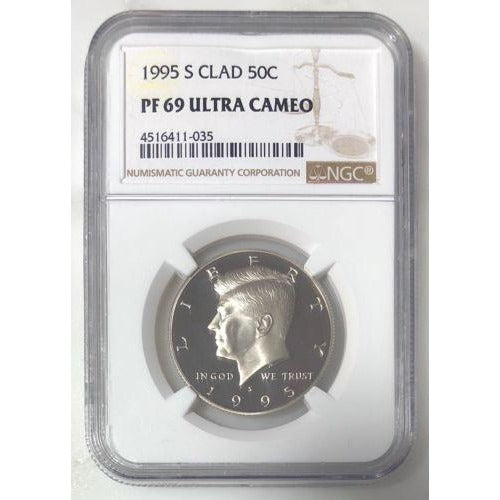 1995 S Clad Kennedy Half Ngc Pf69 Uc *rev Tyes* #1035 Coin