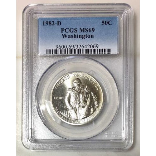 1982 D Washington Half Dollar Pcgs Ms69 *rev Tyes* #206969 Coin
