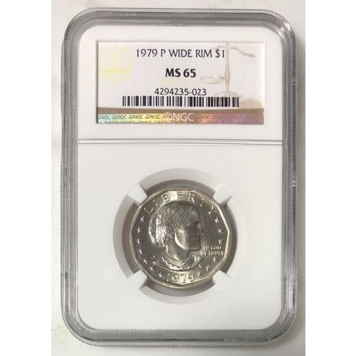 1979 Wide Rim Susan B Anthony Dollar Ngc Ms65 #502353 Coin
