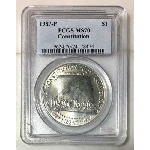 1987 P Constitution Dollar Pcgs Ms70 *rev Tyes* #847464 Coin
