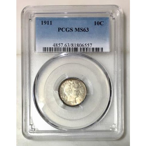 1911 Barber Dime Pcgs Ms63 #6557150 Coin