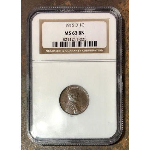 1915 D Lincoln Cent Ngc Ms63Bn *rev Tyes* #102599 Coin
