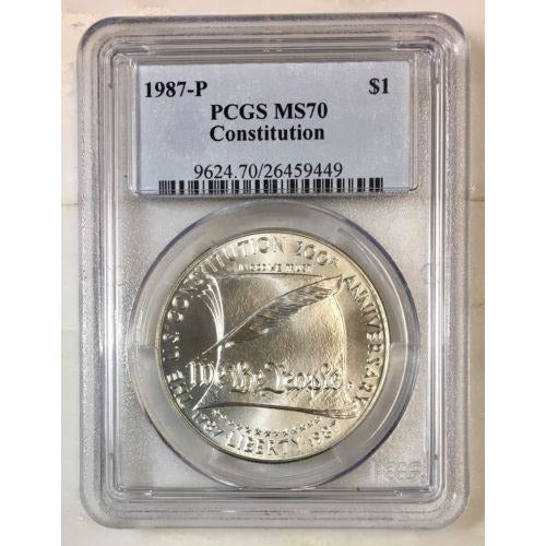 1987 Constitution Dollar Pcgs Ms70 *rev Tyes* #944965 Coin