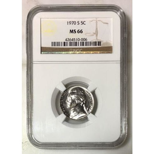 1970 S Jefferson Nickel Ngc Ms66 *rev Tyes* #000652 Coin