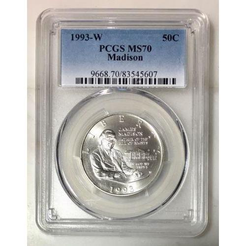 1993 W Madison Half Dollar Pcgs Ms70 #5607 Coin
