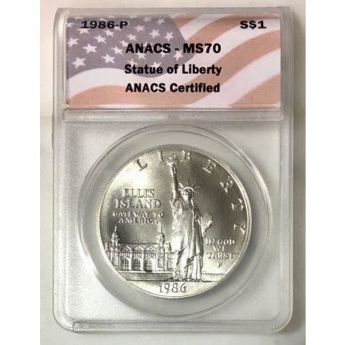 1986 Statue Of Liberty Dollar Anacs Ms70 *rev Tyes* #0685 Coin