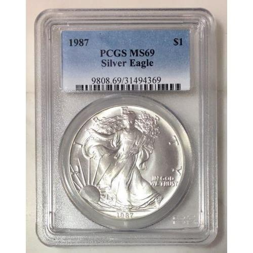 1987 Silver Eagle Pcgs Ms69 *rev Tyes* #436942 Coin