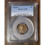 1924-D Lincoln Cent Pcgs Vf30 *rev Tyes* #550255 Coin