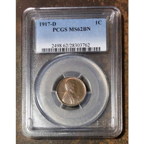 1917 D Lincoln Cent Pcgs Ms62Bn *rev Tyes* #3762100 Coin