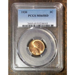 1930 Lincoln Cent Pcgs Ms65Rd *rev Tyes* #810338 Coin