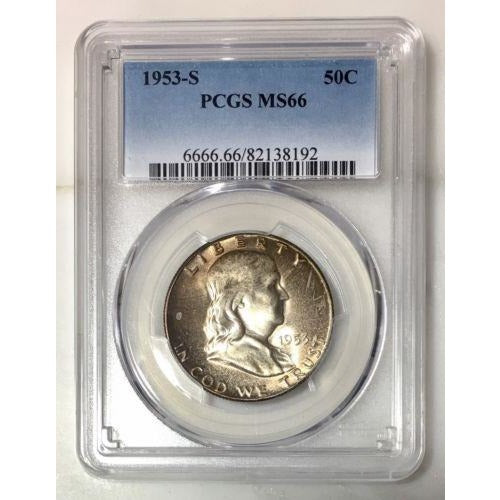 1953 S Franklin Half Dollar Pcgs Ms66 *rev Tyes* #8192198 Coin