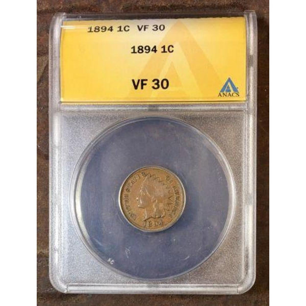 1894 Indian Head Cent Anacs Vf30 *rev Tyes* #924521 Coin
