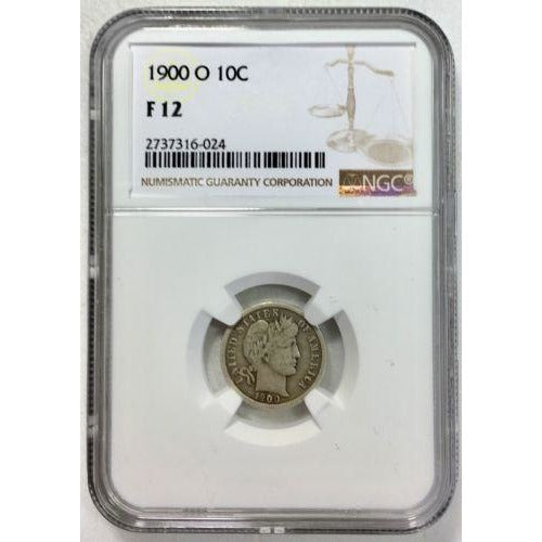 1900 O Barber Dime Ngc F12 *rev Tyes* #602469 Coin
